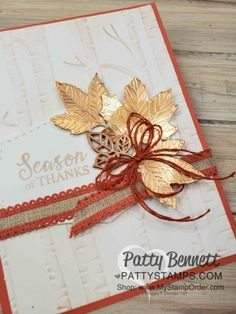 Stampin\' Up! Gather Together bundle Fall Card idea featuring Woodland Embossing folder and Copper Delicata Metallic ink, by Patty Bennett. Holiday Cards, Christmas Cards, Handmade Thanksgiving Cards, Handmade Fall Cards, Diy Thanksgiving, Stampin Up Karten, Leaf Cards, Stamping Up Cards, Flora