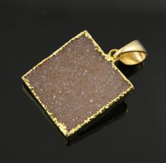 Dazzling Druzy Heart Pendant in Stunning Earth Tones, Heavy Gold Plated, 24x24mm, A+ Gorgeous Quality, Electroplated Edge (DZY/PDT/265) by Beadspoint on Etsy