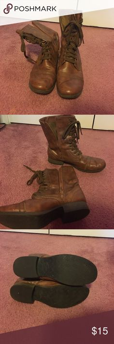 Lace up combat boots- barely worn!! Lace up combat boots from Candies by Kohls. Brown leather and only just barely scuffed on one of the toes. A must have for fall!! Candie's Shoes Combat & Moto Boots