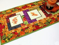 Autumn Leaves Table Runner Quilt Orange Green by QuiltSewPieceful