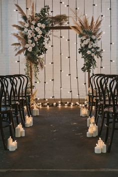 Indoor floral wedding arch with pampas feathers and garlands .- Indoor Blumen Hochzeitsbogen mit Pampas Federn und Girlanden Lichter … – Trend NB Indoor floral wedding arch with pampas feathers and garland lights … – - Bohemian Wedding Decorations, Wedding Altars, Bohemian Weddings, Bohemian Backdrop, Rustic Boho Wedding, Industrial Wedding Decor, Wedding Rituals, Country Weddings, Vintage Weddings