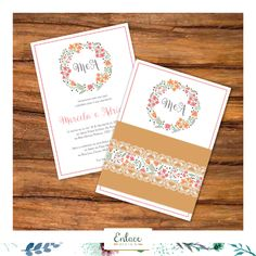 Que tal este modelo de convite rústico?! Bem delicado com esses detalhes em floral. #wedding #inspiration #casamento #rustico #convite #floral #modelo  Orçamento: enlacedesign@gmail.com