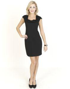 Black Dresses - Bow Neck Shift Black Dress - http://www.blackdresses.co.uk