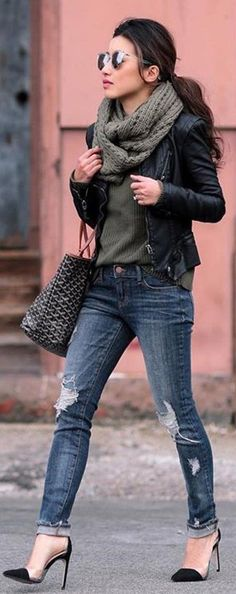 #winter #fashion / Black Leather Jacket / Green Scarf / Green Knit / Ripped Skinny Jeans / Black Pumps