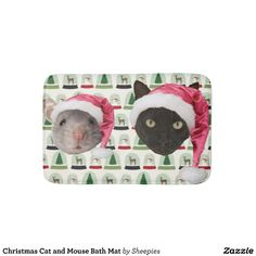 Christmas Cat and Mouse Bath Mat
