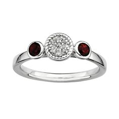 Stacks and Stones Sterling Sterling Silver Garnet and Diamond Accent Stack Ring, Women's, Size: Garnet And Diamond Ring, Garnet Stone, Sterling Silver Flowers, Sterling Silver Rings, Selling Jewelry, Stacking Rings, Custom Jewelry, Gemstone Rings, Gemstones
