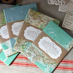vintage maps as envelopes + with belly bands in kraft and white bearing address of recipient