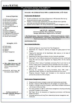 2 Page Resume Format Awesome One Page Resume Sample For Freshers  Career  Pinterest
