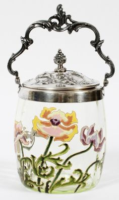 FRENCH ART NOUVEAU ENAMELED GLASS BISCUIT JAR.