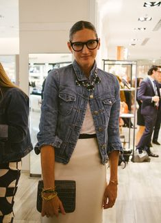 Love the rustic jacket paired with all the lady like elements. Necklace on the outside too! Jenna Lyons, the creative force behind J.Crew
