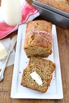 Whole Wheat Roasted Banana Bread Recipe on twopeasandtheirpod.com Great way to use up your brown bananas!