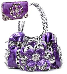 Purple Leopard Flower Rhinestone Fashion Handbag W Matching Wallet * Visit the image link for more details. #Handbags