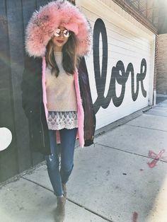 winter fashion, cute coats, winter coats, pink coats, pink fur, fur coats, how to style your winter coats, pink fur coats, chicago winters, cute fashion, fashion inspiration