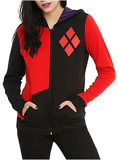 We've got mad love for this reversible hoodie. One side has a Harley Quinn costume design. The other side has a Joker costume design. 60% cotton; 40% polyester Wash cold; dry low Imported Listed in junior sizes