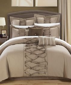 Loving this Taupe Ruth Ruffled Comforter Set on #zulily! #zulilyfinds  for master bedroom
