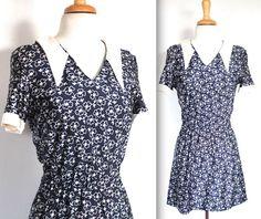 Vintage 1960s Dress // 60s White Floral Print by TrueValueVintage