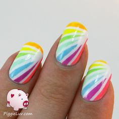 I have a bright neon mani to brighten up your weekend! I used striping tape to get these nice crisp lines. I think it's pretty, don't you?