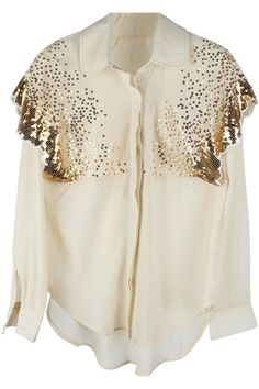 """#Romwe """"Sequined Butterfly"""" Shoulder Apricot Shirt"""