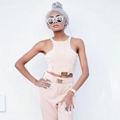 Nyane Lebajoa: Women's Indie Fashion Round Laser Cut Metal Cat Eye Sunglasses 9788