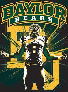 Baylor Bears Gridiron Pride 24x18 Football By Sportpostersusa Baylor Bear Football Poster Baylor