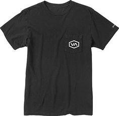 RVCA Mens Hex VA Pocket T-Shirt, Pirate Black, 2X-Large