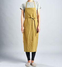 For expert full linen apron Olive Green / Premium by aroundLINEN
