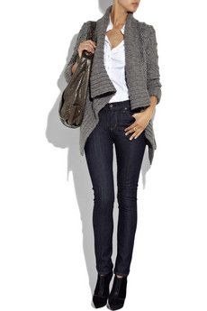 Style Notebook: Gray Cardigan, Skinny Jeans and Ankle Boots Outfit