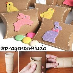 Caixinhas com rolo de papel higiênico para páscoa | Pra Gente Miúda Kids Crafts, Easter Crafts, Easter Projects, Projects To Try, Toilet Paper Crafts, Toilet Roll Craft, Craft Gifts, Diy Gifts, Rolled Paper Art