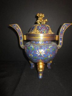Antique Chinese Cloisonne Incense Burner With Foo Dog Top.