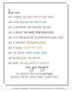 Birthday presents for mom from daughter diy life 68 Ideas Mother Birthday Presents, Birthday Wishes For Mom, Birthday Quotes For Daughter, Dad Birthday Card, Boyfriend Birthday, Daughter Poems, Birthday Bash, Mum Presents, Diy Birthday Gifts For Mom