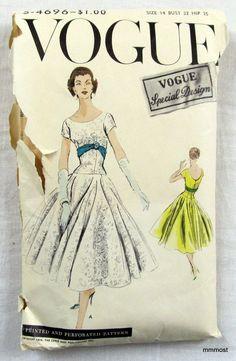 VSD S-4696 Dress 1956 Sz14/32  uncut 1Pc dress with very circular skirt joins the elongated bodice...sld 9.99+fr 1bd 9/25/16