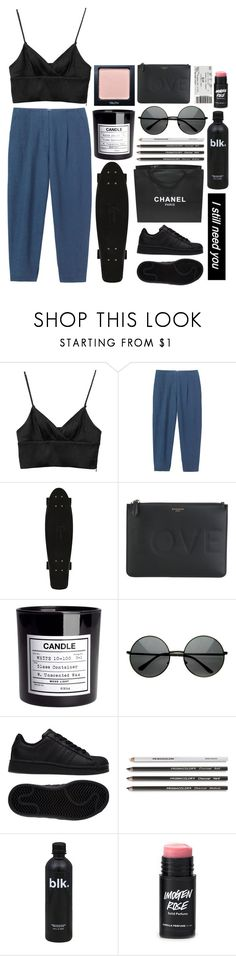 """Untitled #731"" by rheeee ❤ liked on Polyvore featuring Monki, Givenchy, H&M, Enchanté, Chanel and adidas"
