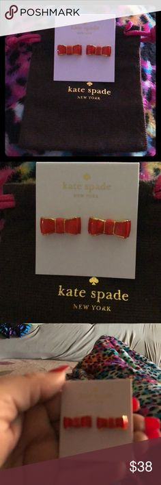 """KATE SPADE """"BOWS LINED IN 14K GOLD"""" STUDS KATE SPADE """"BOWS LINED IN 14K GOLD"""" STUDS kate spade Jewelry Earrings"""
