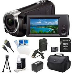 Sony HDRCX440 HDRCX440B CX440 Full HD 60p Camcorder  Black Ultimate Bundle w 32GB High Speed MicroSD Card Spare High Capacity Battery ACDC Charger Table top Tripod Deluxe Case and much more >>> You can find more details by visiting the image link. (Note:Amazon affiliate link)