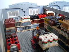 warehouse. Train Lego, Lego Trains, Lego City, Lego Structures, Construction Lego, Lego Machines, Lego Furniture, Lego Pictures, Lego Modular