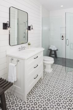 Wonderful Small Farmhouse Bathroom Remodel Design Ideas - Page 77 of 85 Cement Tiles Bathroom, Mold In Bathroom, Basement Bathroom, Master Bathroom, White Bathroom, Bathroom Store, Bathroom Plumbing, Small Full Bathroom, Bathroom Design Small