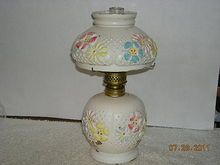 Miniature, Consolidated Glass Co., Cosmos, Oil Lamp
