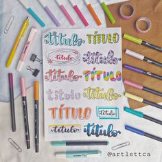 Hand Lettering Styles, Doodle Lettering, Hand Lettering Quotes, Lettering Ideas, Bullet Journal Titles, Bullet Journal Inspiration, Pretty Notes, Notes Design, Planner Decorating