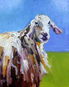 #10 Wildlife Animal Art Sheep Oil Painting Diane Whitehead, painting by artist Diane Whitehead