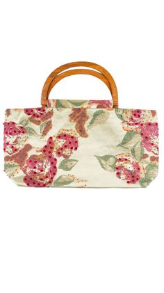 by Moyna  Floral Wood Handled Tote - Olive