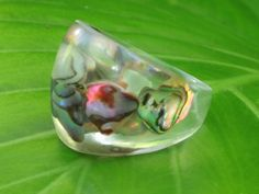 Size 6.5 Abalone Puau Shell Bubble Resin Ring by MonkeyNavigated, $19.00