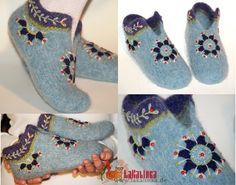 Knitting pattern for felted womens slippers Nordic Winter