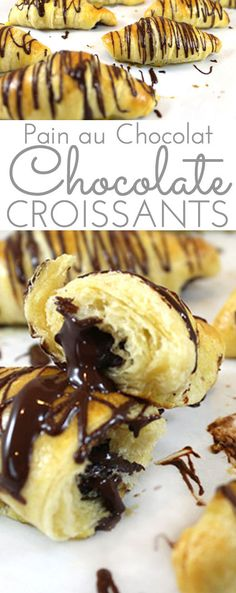 Pain Au Chocolat (Chocolate Croissant Recipe): Light, flaky, chocolate-filled buttery croissants with chocolate drizzle. Easily made with store bought croissant dough(French Chocolate Bread) Chocolate Croissant Recipe, Chocolate Drizzle, Chocolate Croissants, Chocolate Sticks, Chocolate Muffins, Chocolate Chips, Dessert Simple, Brunch Recipes, Dessert Recipes