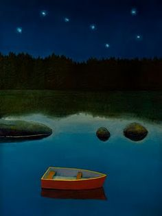 """Boat and Stars,"" a painting by Joyce Koskenmaki."