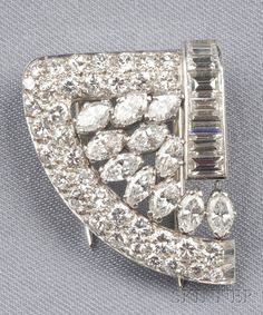 Art Deco Platinum and Diamond Dress Clip