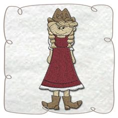 Cowgirl Machine Embroidery Design pattern-INSTANT DOWNLOAD