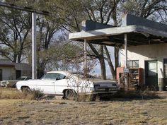 Abandoned gas station, abandoned car...Marc Heiden Glenrio, Texas
