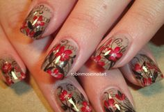Newspaper Nails with Antique Red Flowers