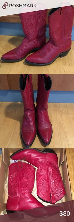 Abilene boots Red Stunning women's Abilene Boots in red. In good used condition. Size 9.5 abilene Shoes Heeled Boots