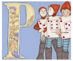 P is for Playing Cards 9x7.5 Wonderland Alphabet